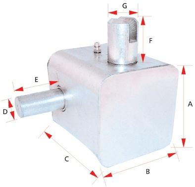 GEAR BOX 80X80-96MM SQ LEFT F OR RIGHT R WITH EXTENDED SHAFT