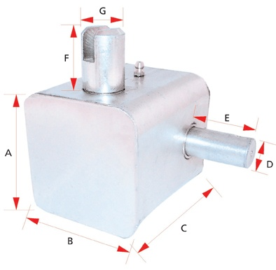 GEAR BOX 80X80-96MM SQ LEFT R OR RIGHT F WITH EXTENDED SHAFT