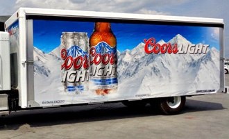 coors light rolaslide curtain digital graphic