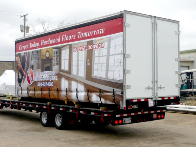 Philadelphia floor store trailer curtain graphic